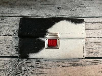 KUHIE®, Kuhfellgeldbeutel XL / Clutch schwarz-weiß