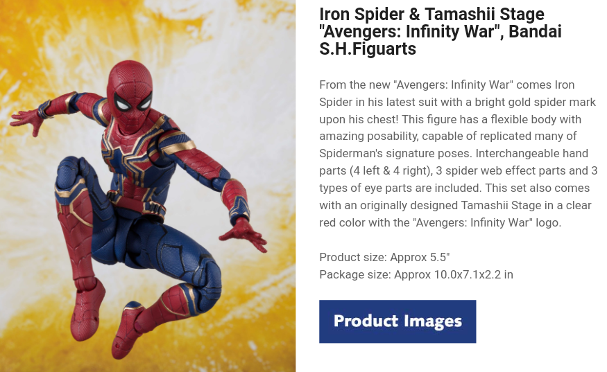 "Iron Spider & Tamashii Stage ""Avengers: Infinity War"", Bandai S.H.Figuarts"