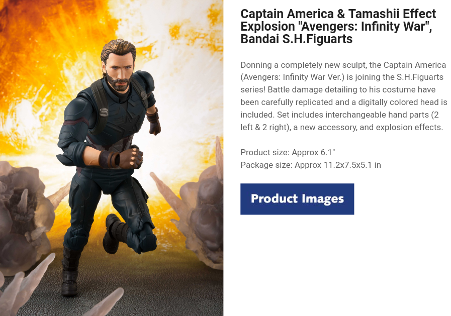 "Captain America & Tamashii Effect Explosion ""Avengers: Infinity War"", Bandai S.H.Figuarts"