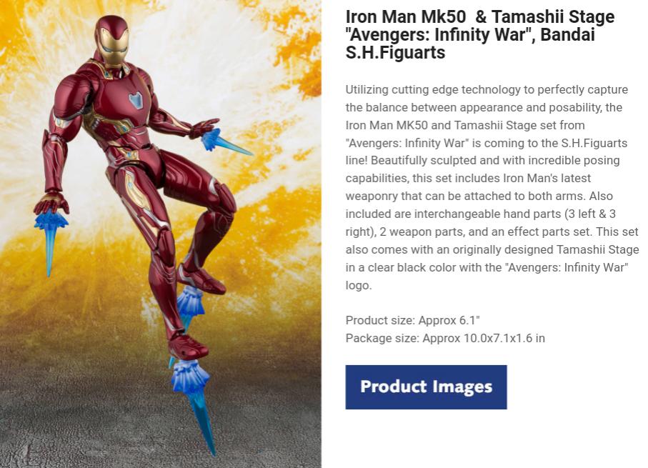 "Iron Man Mk50  & Tamashii Stage ""Avengers: Infinity War"", Bandai S.H.Figuarts"