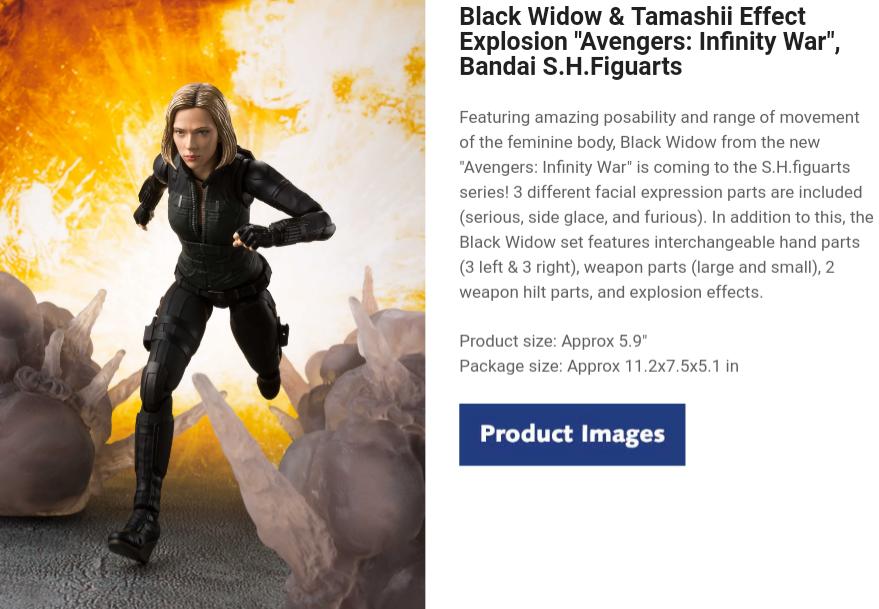 "Black Widow & Tamashii Effect Explosion ""Avengers: Infinity War"", Bandai S.H.Figuarts"