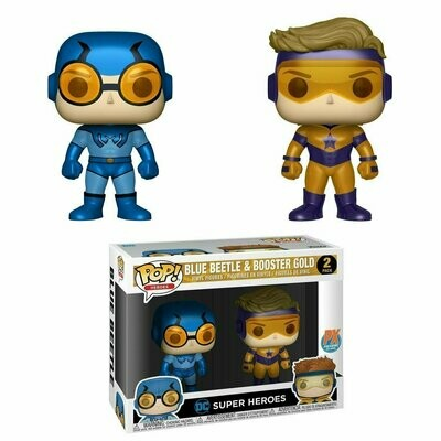 Pop ! DC Comics 2-Pack - Booster Gold & Blue Beetle (Px Previews Exclusive Metallic)
