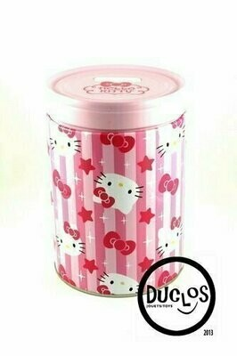 Bank - Tin Box - Hello Kitty Round Can Bank Stars