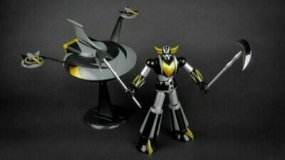 HL Pro - Metaltech 01 Deluxe - Die Cast - Goldorak et son Vaisseau Exclusivité Noire et Jaune (6'' Action Figure + 9.5'' Spaizer Grendizer & Spaizer)