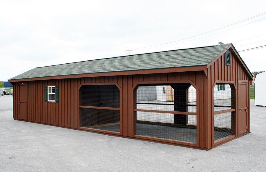 12 x 40 Backyard Chicken Coop with Built-On Run hs 12x40