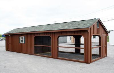 12 x 40 Backyard Chicken Coop with Built-On Run