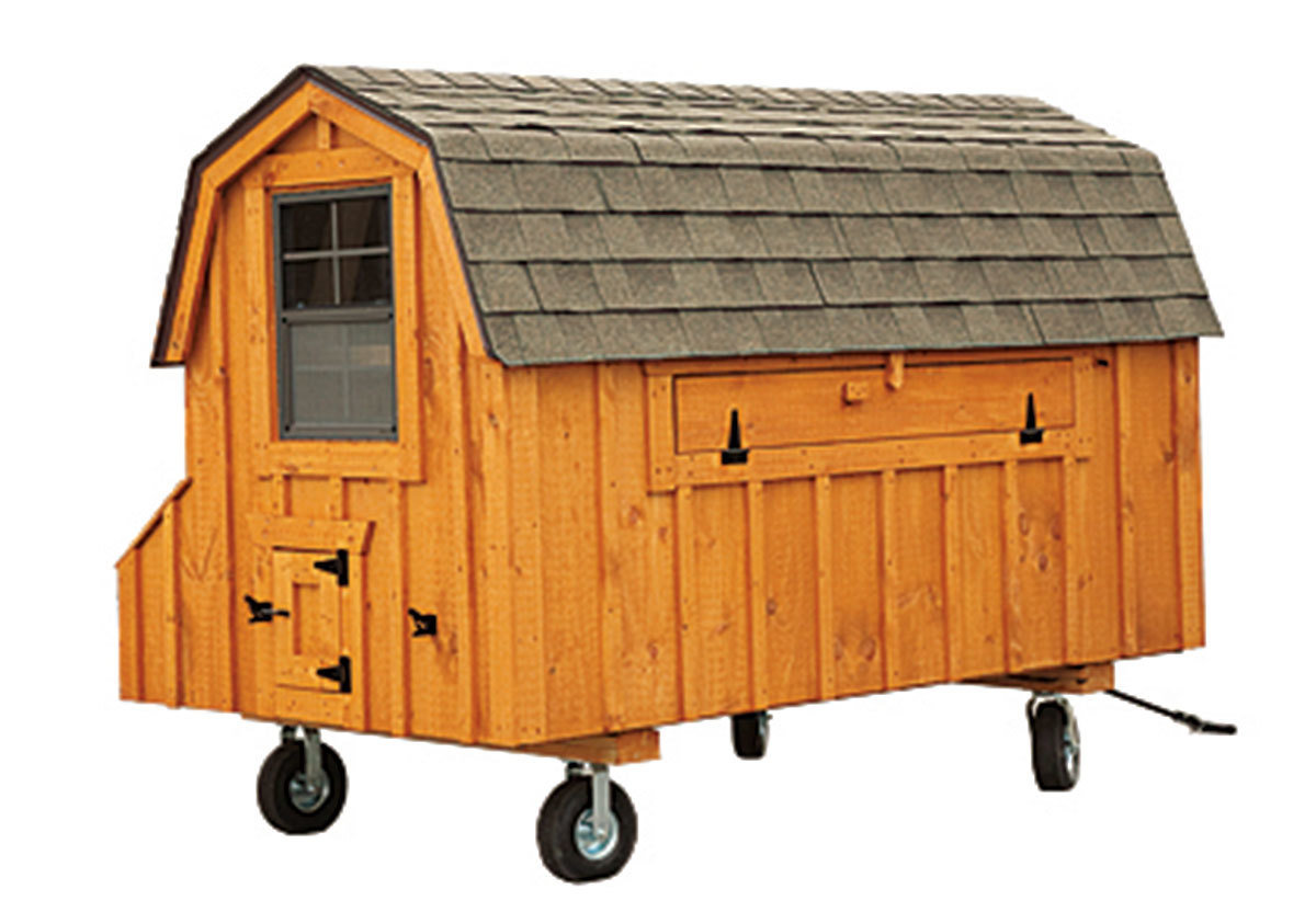 4x8 Dutch style coop with stained wood siding and wheels