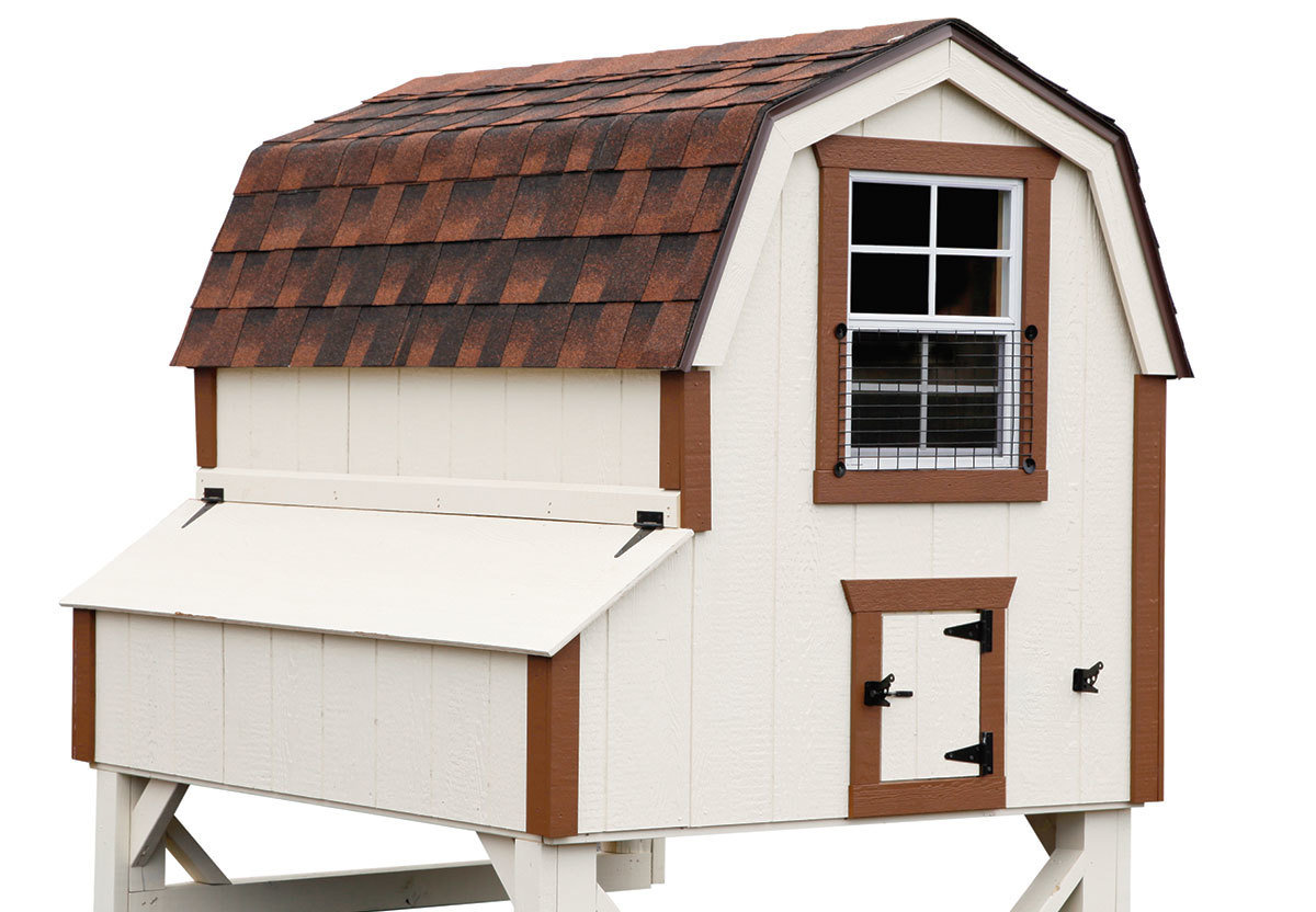 Dutch style coop painted white with brown trim