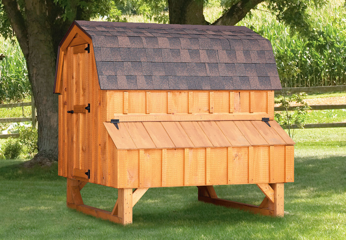 4x6 Dutch style coop with stained wood siding