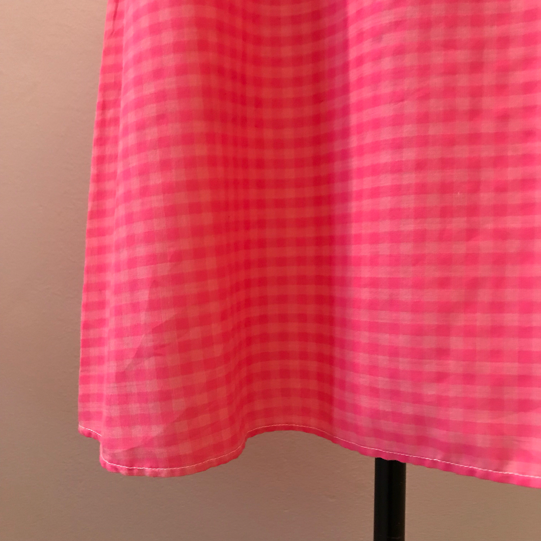 1960s Pink Gingham Dress