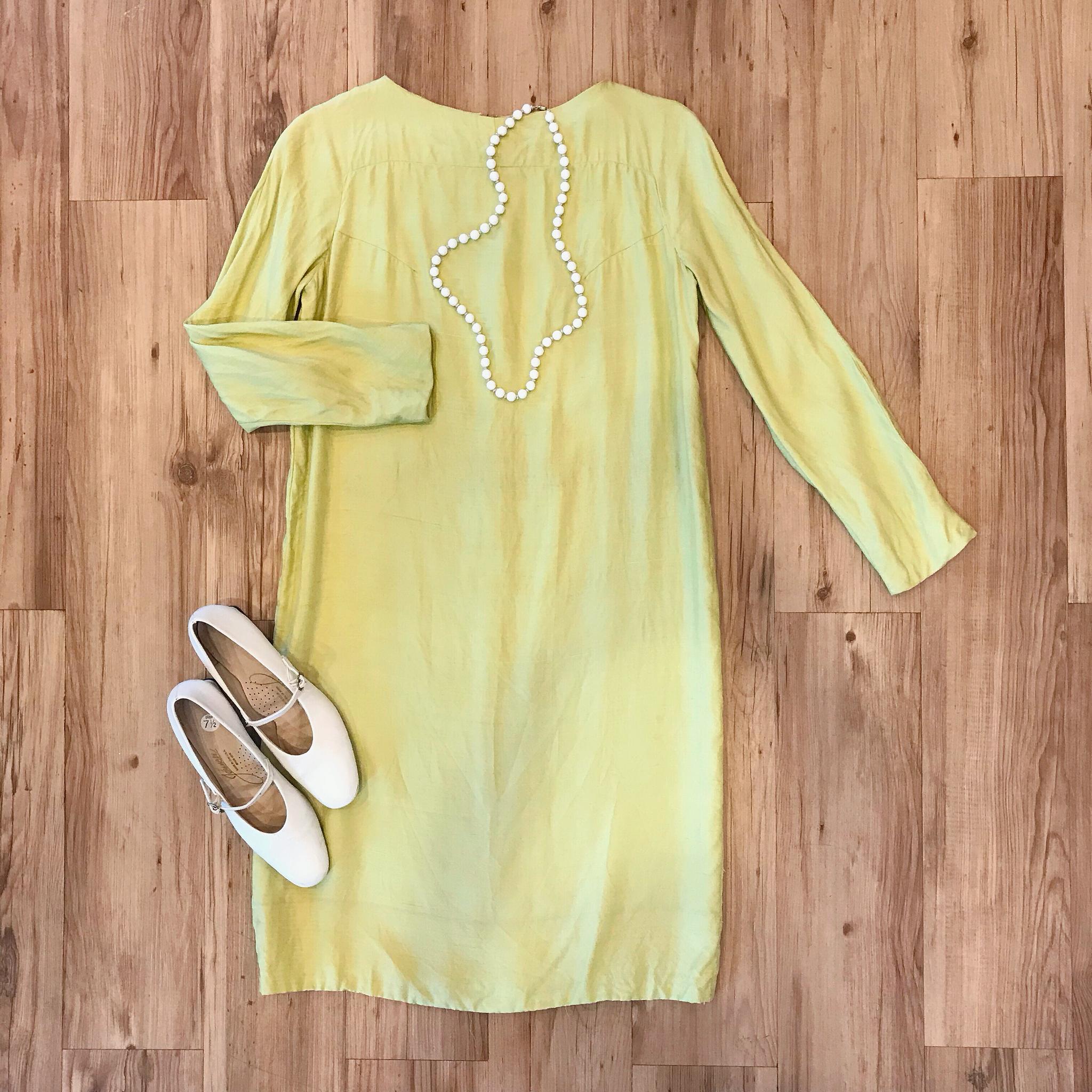 1960s Chartreuse Silk Shift Dress 00016