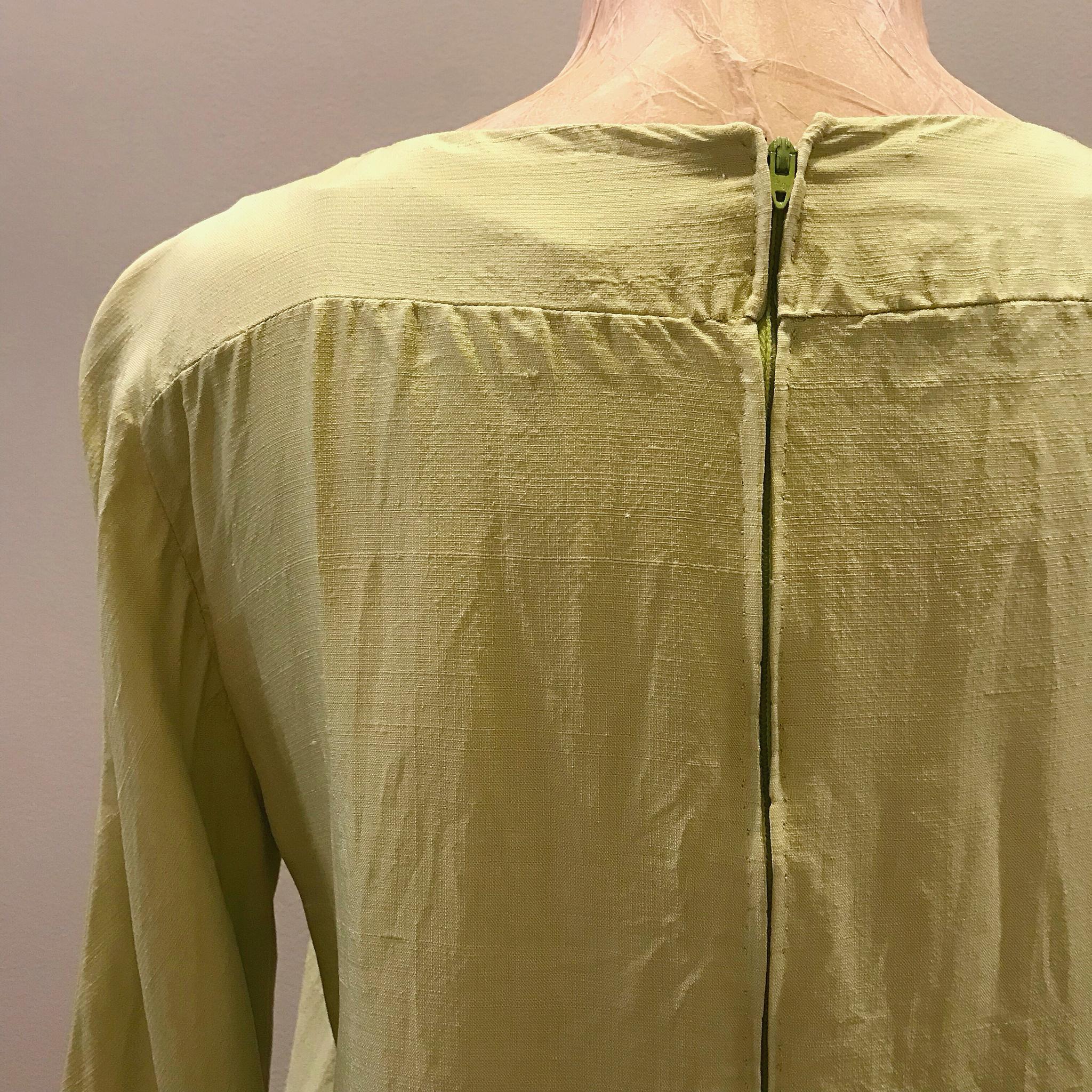 1960s Chartreuse Silk Shift Dress