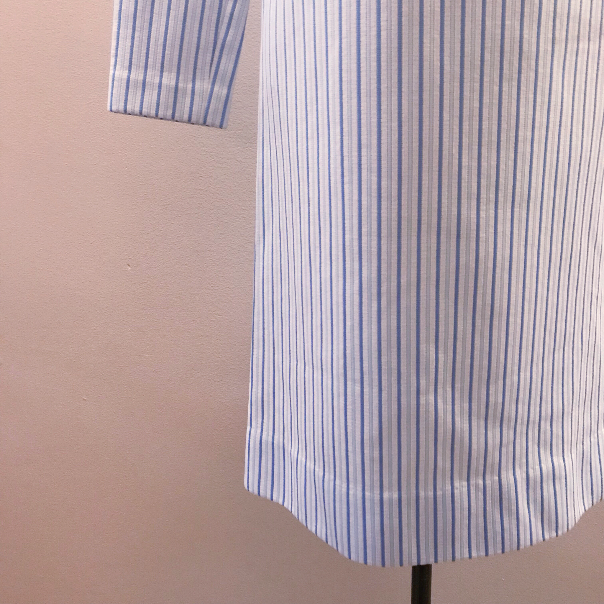 1960s Shades of Blue Striped Shift Dress