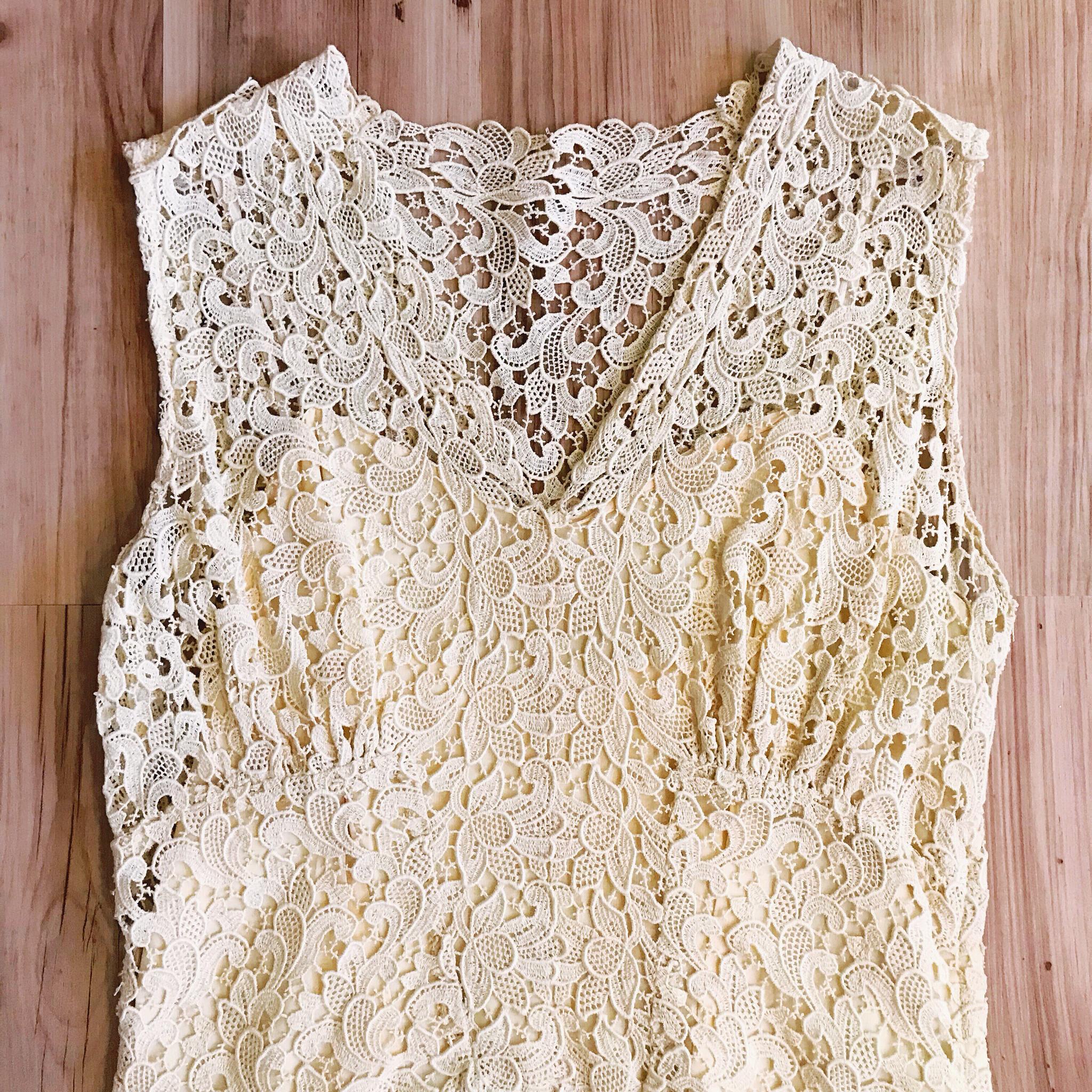 1940s Ivory Lace & Chiffon Dress