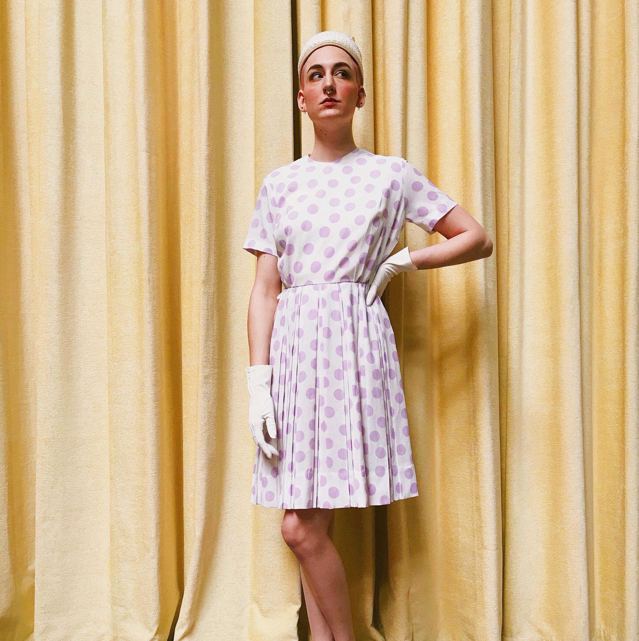 1950s Pretty Pastel Purple Polka Dot Dress 00025