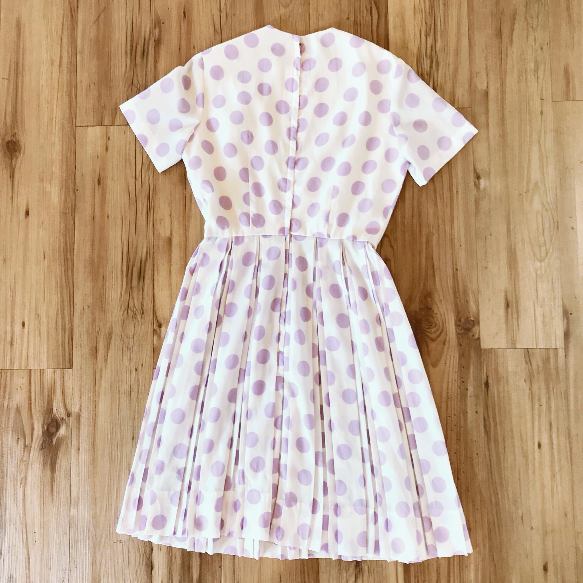 1950s Pretty Pastel Purple Polka Dot Dress