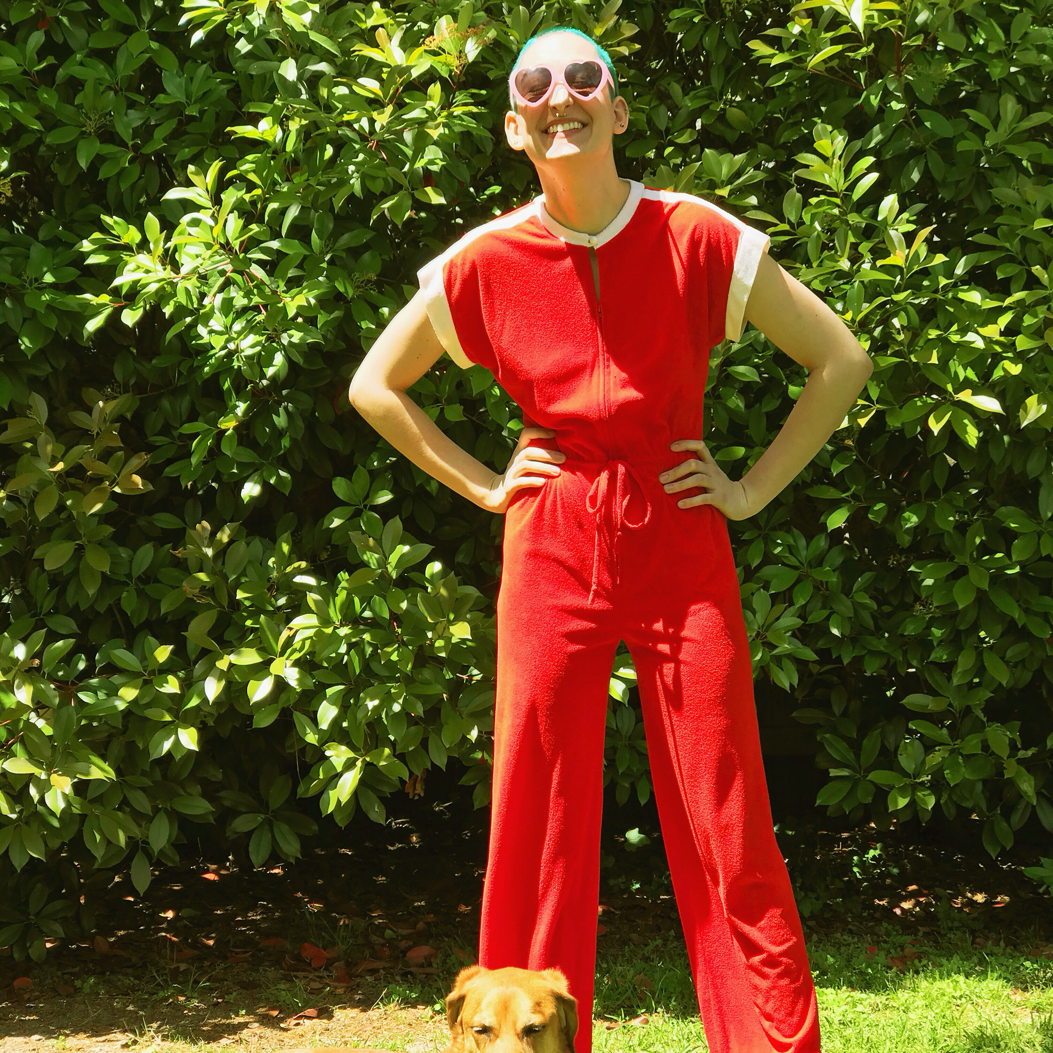 1970s Red & White Terrycloth Jumpsuit 00029