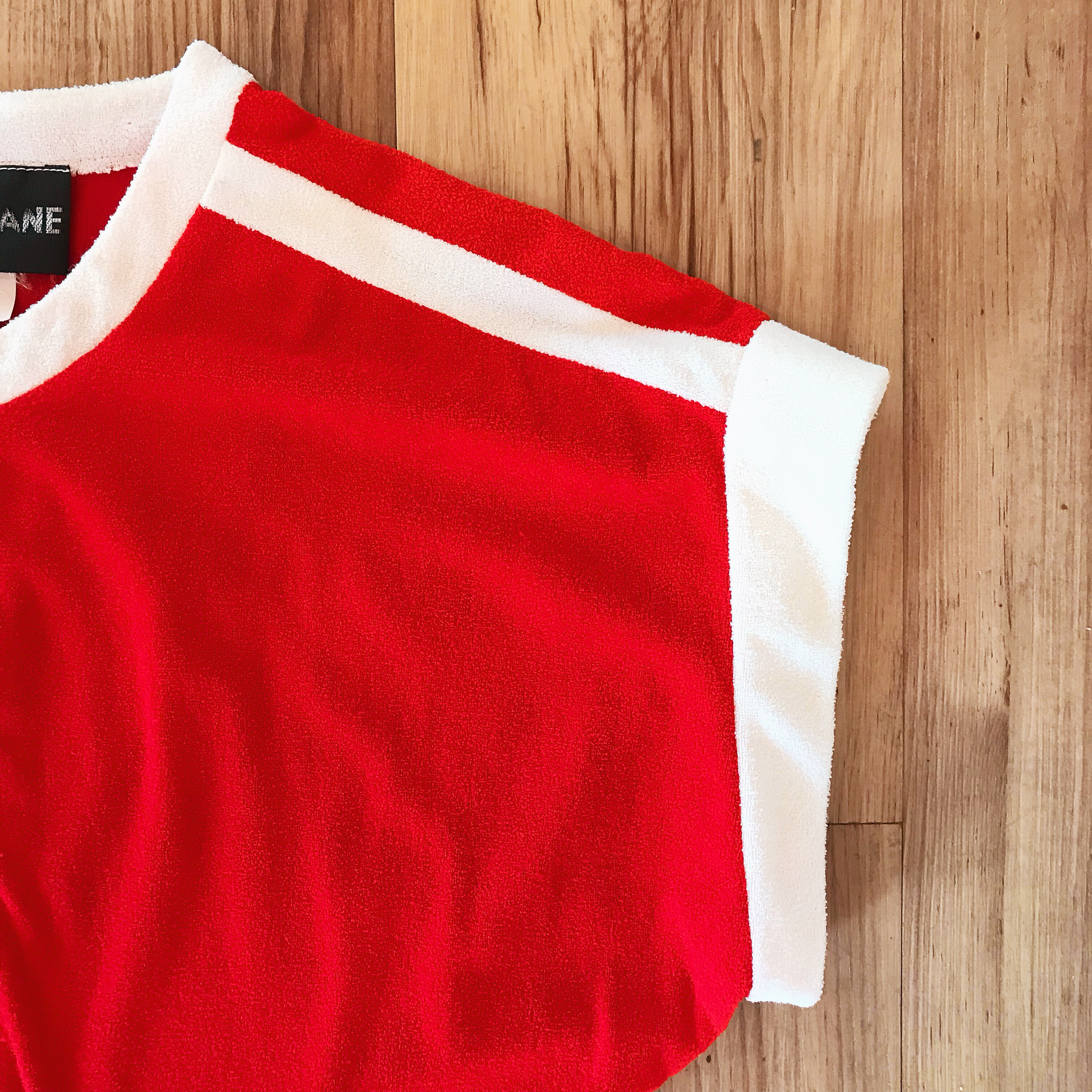 1970s Red & White Terrycloth Jumpsuit
