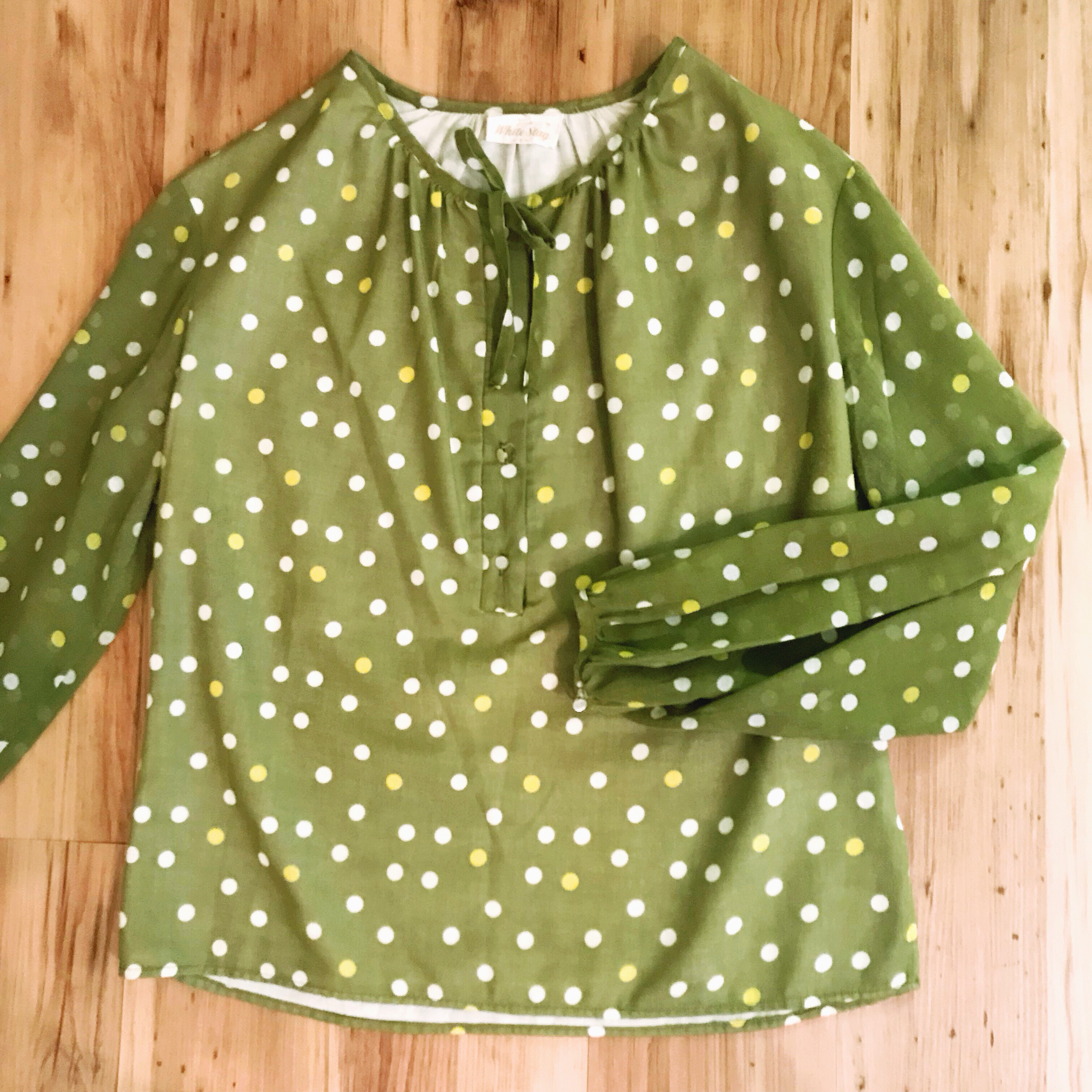 1970s Avocado Dotted Blouse