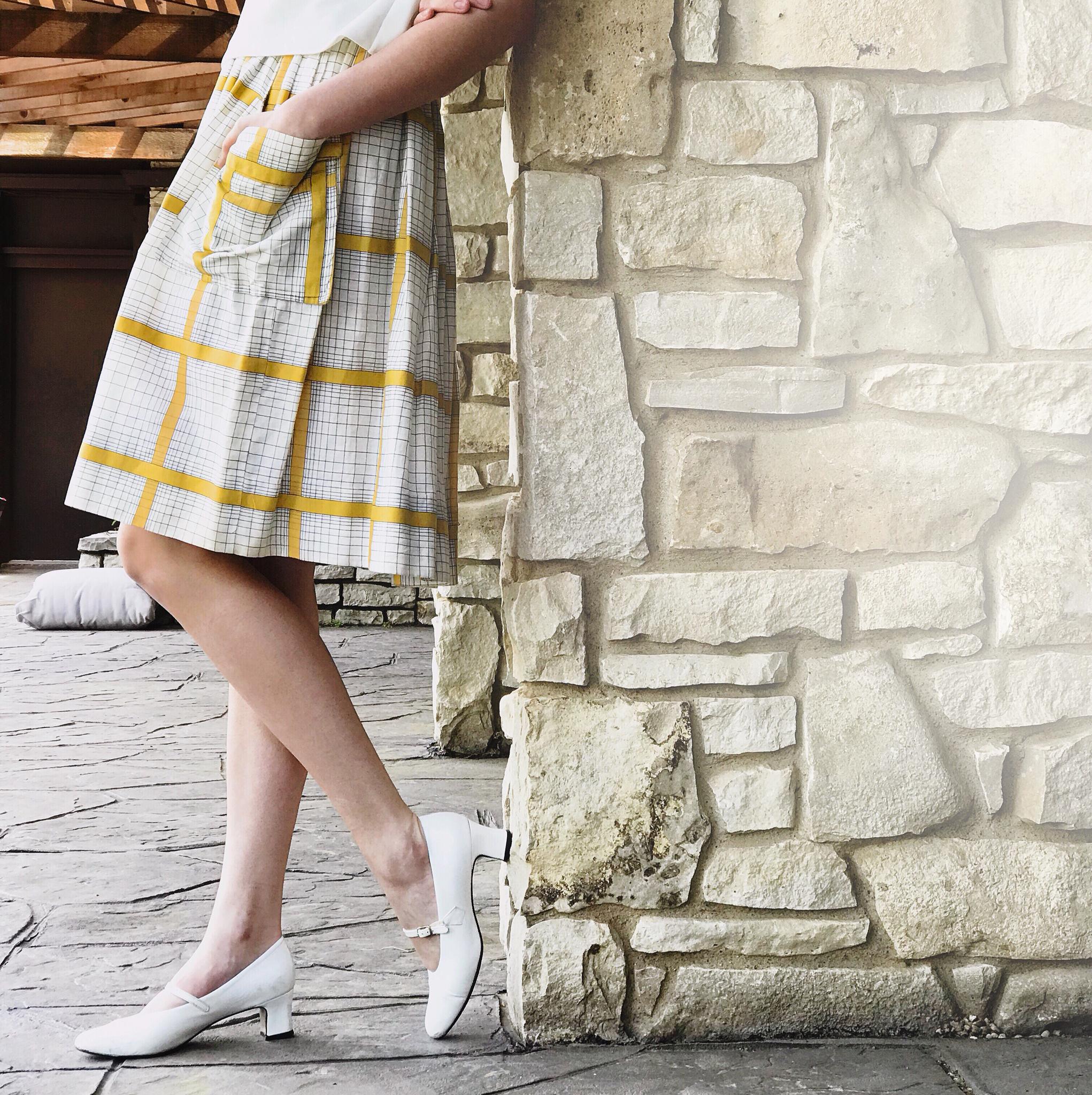 1950s One-Pocket Plaid Skirt 00033