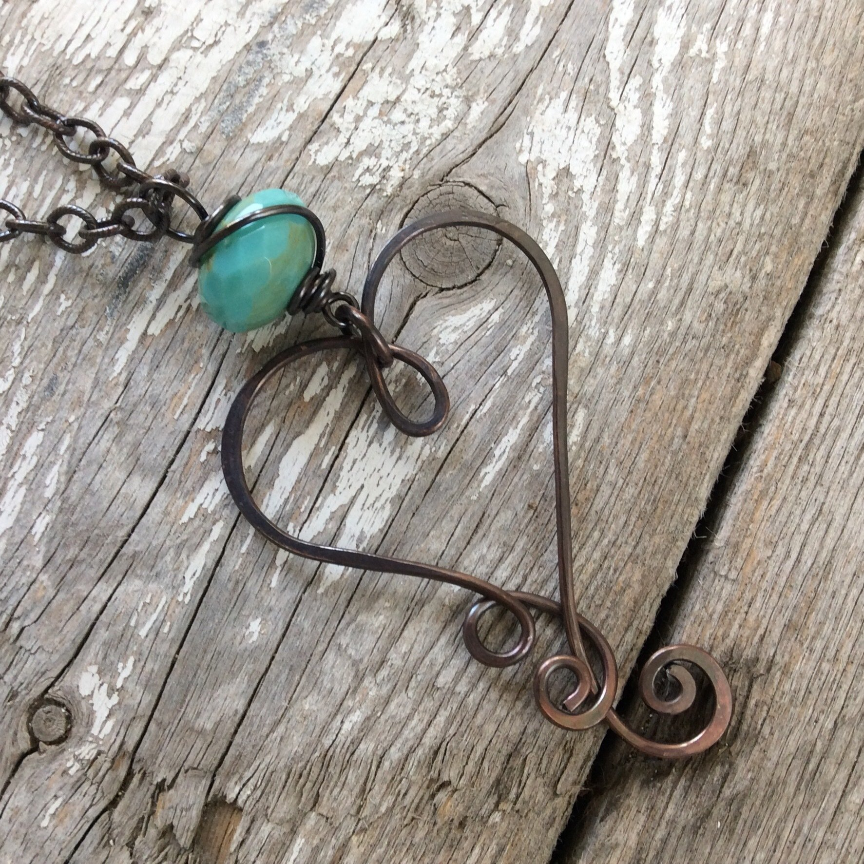 Large Heart Oxidized Copper Necklace