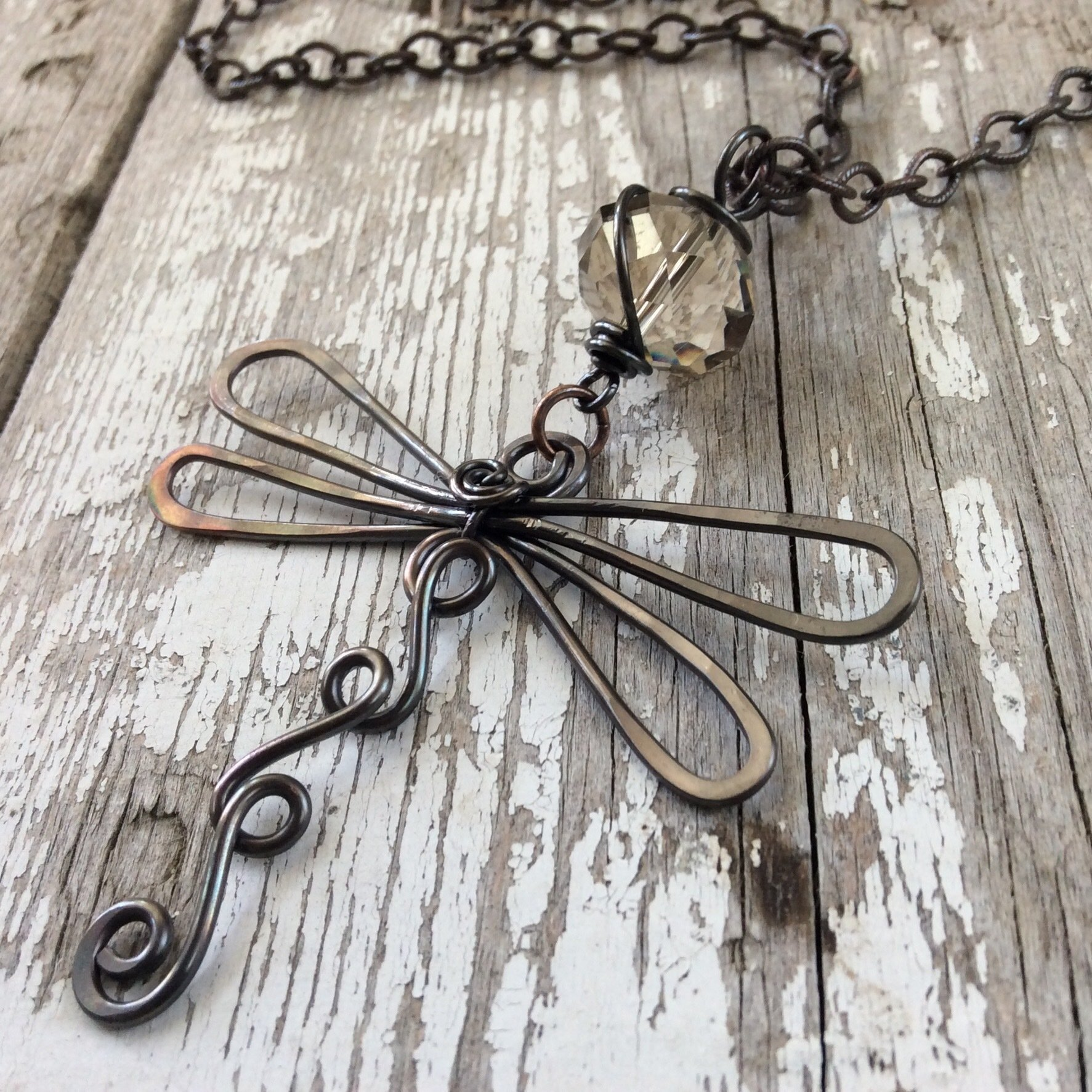 Large Dragonfly Oxidized Copper Necklace