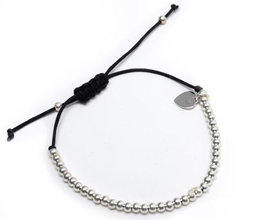 Heart String Bracelet Black and Silver