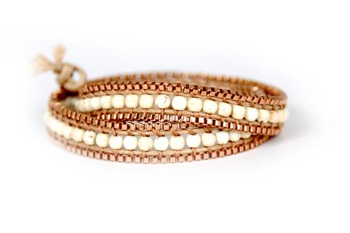 Zipper Wrap Bracelet in Cream Howlite