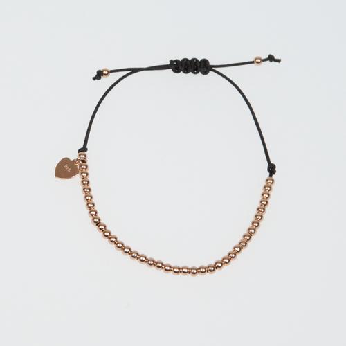 Heart String Bracelet Black and Rose Gold Filled