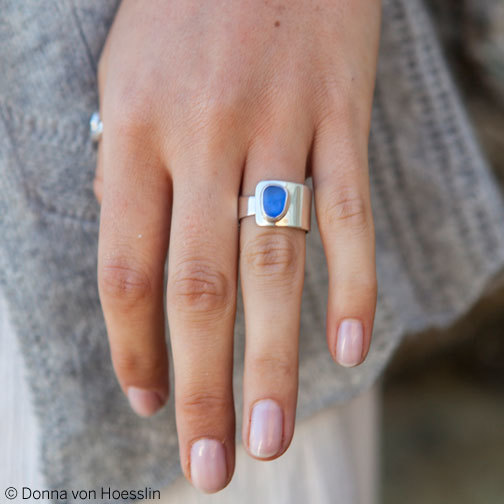 ADJUSTABLE Sea Glass Ring is sized, but open, so you don't get stuck. Unisex.