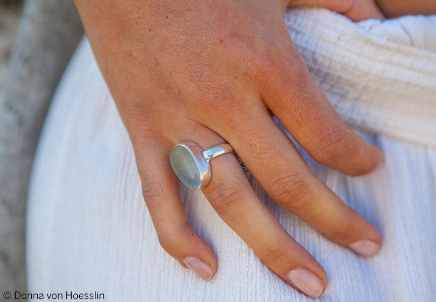 MEDIUM Single Bezel, Single Band sea glass rings in sea foam and white