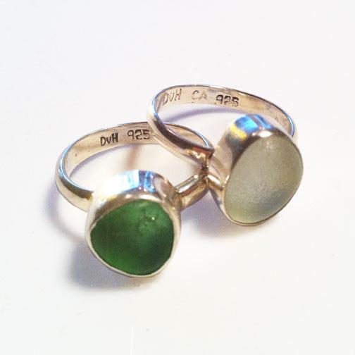 MINI Single Bezel, Single Band MINI Sea Glass Rings in green and sea foam
