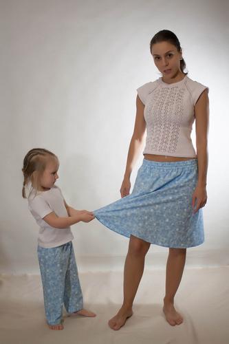 """Домашний комплект юбка+штанишки """"Голубые звездочки"""""""