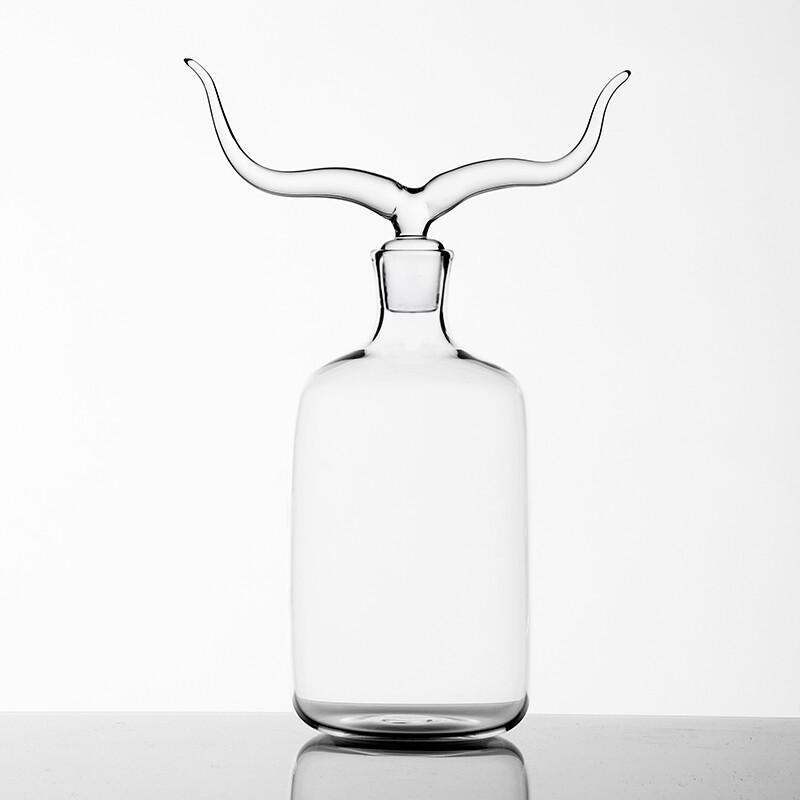 Hand Blown Glass Bottle 'Longhorn '- Trophy Bottles