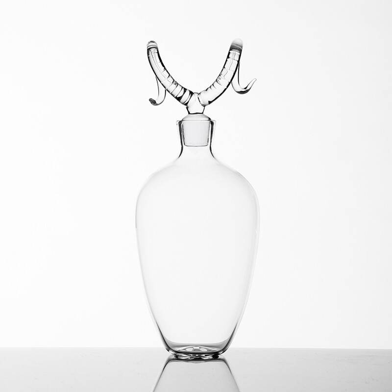 Hand Blown Glass Bottle 'Bighorn '- Trophy Bottles