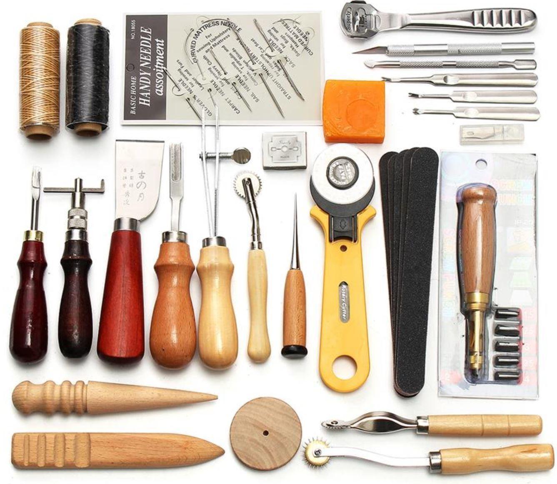 Kit de Artesanía y Costura en Cuero, 37 piezas.