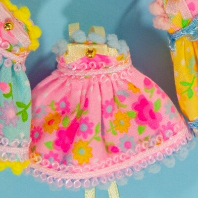 Floral Fancy for Petite Blythe - Pink with Light Blue Trim