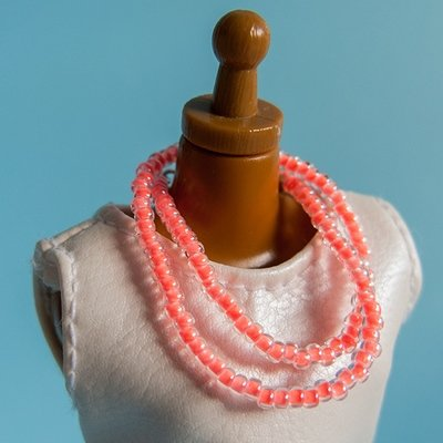 Long strung bead necklace: Luminous Coral Red