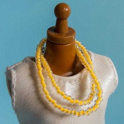 Long strung bead necklace: Luminous light orange