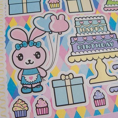 Funny Bunny Sticker Sheet: Happy Birthday!
