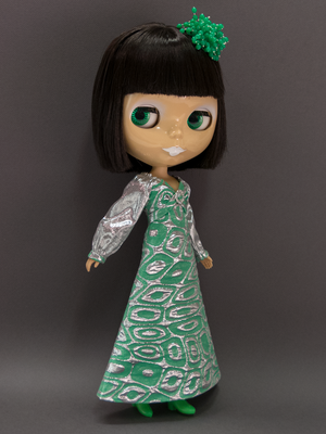 Glamour Maxi Dress for Neo Blythe - Silver and Green