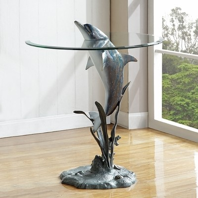 DESIGNER TABLE-SURFACING DOLPHIN