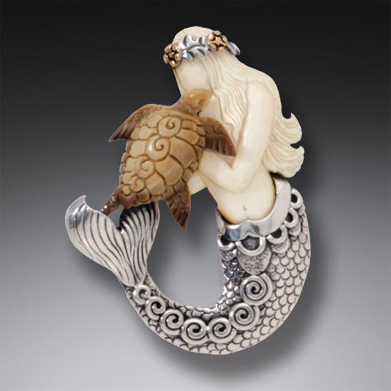 DESIGNER JEWELRY-STERLING SILVER-MERMAID WITH TURTLE SB760PN