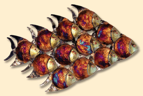 COPPER WALL ART-SCHOOL OF TROPICAL FISH CP044