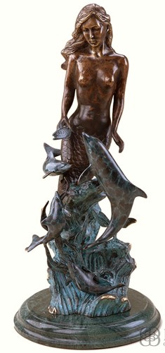 SIREN SCULPTURE-BRASS MERMAID & DOLPHINS SP30206