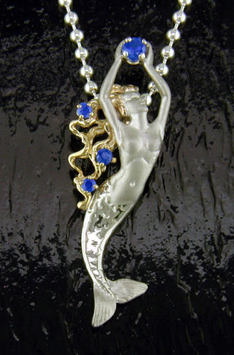 DESIGNER JEWELRY-14k GOLD AND STERLING SILVER MERMAID NECKLACE SGP105B