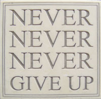 MARBLE PLAQUE-NEVER GIVE UP HP2304