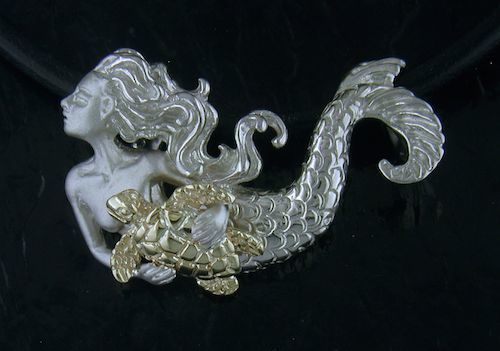 DESIGNER JEWELRY-14K GOLD AND STERLING SILVER MERMAID & SEATURTLE SGN108-18