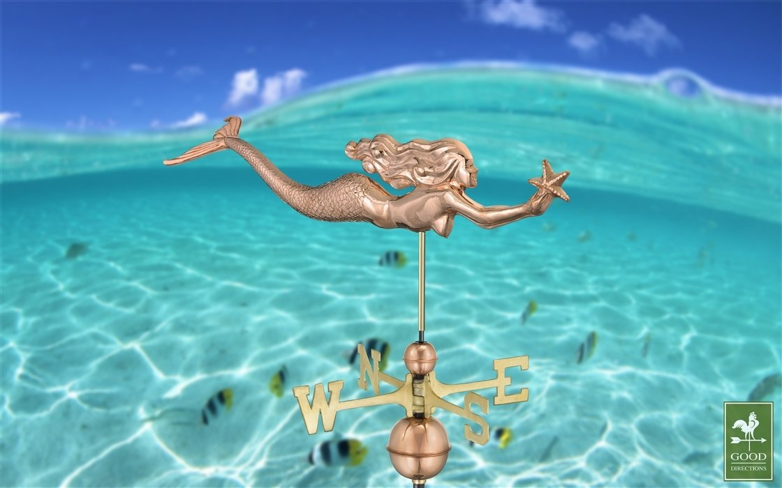 COPPER WEATHERVANE-REACHING STAR MERMAID 966P