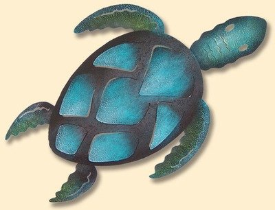 INCREDIBLE METAL WALL ART-AQUA TURTLE